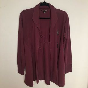 Lucky Brand Cardigan Jacket Toggle Maroon Sweater